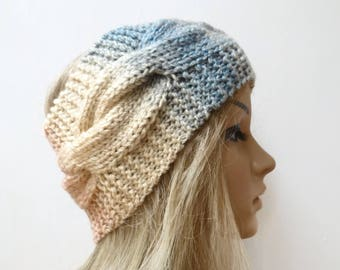 Chunky Acrylic Cabled Headband - Women Hand Knit Braided Headband - Cream Blue Grey Ear Warmer - Women Cabled Headband - Clickclackknits