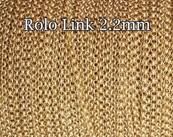 Gold Filled chain wholesale Rolo chain 2.2mm , 1 3 5 10 20 30 50 100Feet , gold fill Rolo Belcher , 30%discount price bulk quantity chain