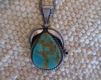 Turquoise and Silver Southwestern Necklace