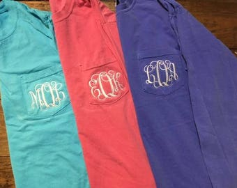 Back to School Special Monogrammed  Comfort Color Long Sleeve Pocket T-shirt