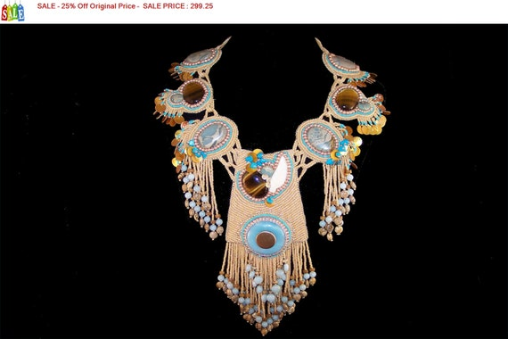 SALE - 25% Off Original Price Necklace - Southwest Seed Bead Ceremonial Dance Necklace
