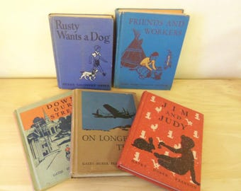 5 Vintage Hardback Reading School Books , Down Our Street, Jim and Judy, Friends & Workers, Rusty Wants a Dog, On Longer Trails, 1930s - 40s