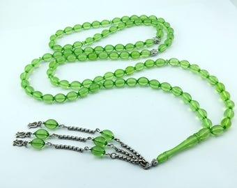 Green color 99 pcs Islamic Prayer Beads Misbaha Rosary Tesbih worry 401057