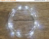 WINTER CLEARANCE SALE Led Battery Operated Fairy Lights, Rustic Wedding Decor, Room Decor, 6.6 ft Silver Wire Cool White