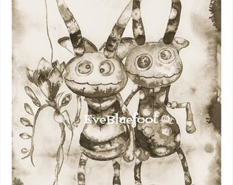 Whimsical Critters Portrait Print, Fine Art Prints, Sepia ink Watercolors, Black & White Illustrations, Sepia Ink Painting, Goth Painting