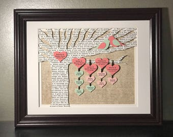 Mother's Christmas Gifts, Mothers Day, Family Tree, Blended Family, Anniversary Gift for Parents, Gift for Grandparents, Family Tree Gift -