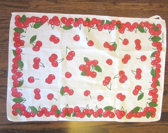 Reinleinen Tea Dish Towel Cherries Made In Germany  Signed 26 x 18 Inches