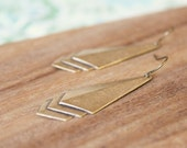 minimal vintage brass earrings - layered geometric