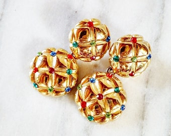 Vintage Multicolored Rhinestone Gold Quilted Earrings