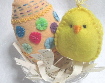 FANCY EGG & BIRDIE Set Three Easter Holiday Spring Home Decor
