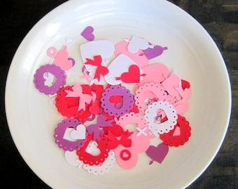 Valentine Confetti, Valentine Table Decor,Valentine Party Cofetti, Heart Confetti, Bows Confetti, 100 Valentine confetti, Valentine Party