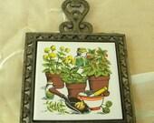 Half Off Sale Kitchen Ceramic Tile Trivet, Pot Rest, Hot Plate, Herb Garden, Vintage, Kitchen Wall Decor
