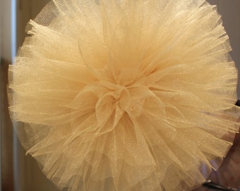 Hand Sewn and Woven 10 Inch Gold or Metallic Shimmer Tulle Pom Pom, Anniversary Decor, Party Decor, Wedding Decor