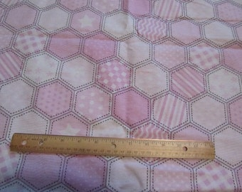 Pink/White Octagon Prints Flannel Fabric by the Yard