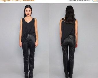 SALE 25% OFF Vtg 90s Black Leather Zipper Motorcycle Skinny Pants S