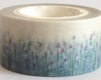 """SALE Washi Tape Floral Wide Roll  """"Lavender Fields""""  20mm x 10 meters"""