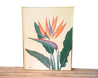 RESERVED Huge Tropical Flower Painting ~ Gold Frame Bird Of Paradise Art/ Painting  Exotic Flower Painting Signed L. Young