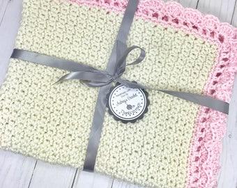 Crochet baby blanket, baby blanket, cream baby blanket, baby girl blanket, stroller blanket