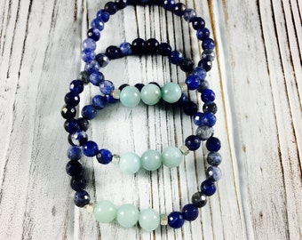 Sodalite Amazonite Bracelet - Mala Bracelet - Intuition - Yoga Bracelet  - Blue Beaded Bracelet - Yoga Jewelry - gift for her