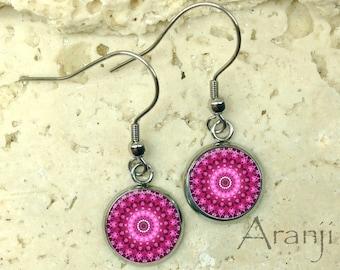 Fuchsia mandala earrings, pink mandala earrings, fuchsia earrings, kaleidoscope drop earrings, mandala earrings, mandala jewelry PA126DP