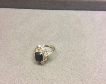 Vintage Black Onyx filligree Ring