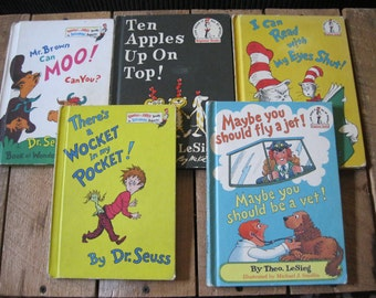 Dr. Seuss Books-5 Vintage Seuss Stories-Seuss Story Book Collection-Mr Brown Can Moo-Ten Apples on Top-Wocket In My Pocket-I can Read with