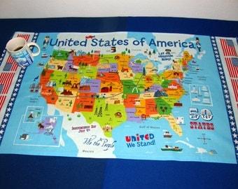 Us Landmark Fabric Etsy - Map of us landmarks