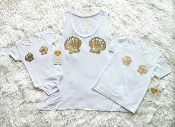 White with Gold Merbaby Onesie