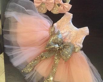 Princess Pageant Dress | Peach Pageant Dress | White Pageant Dress | Peach Tulle Dress | Peach Bow Dress | Bow Dress | Sequins Dress | Dress