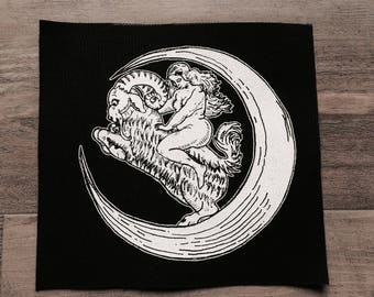 Screen printed  sew on canvas patch • black and white • Moon goat lady large patch