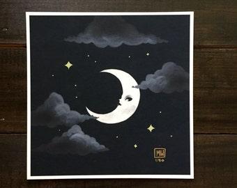 """5x5 fine art print, """"Crescent"""" pop surrealism, moon art, night sky, lunar space art, weird surreal, occult, celestial body"""