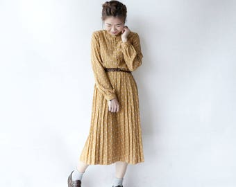 Vintage dress | mustard yellow | long sleeves | Japanese vintage | 70s 80s