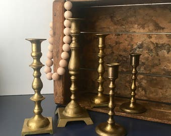 vintage brass candlesticks set of 6 grouping collection boho decor