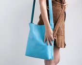 CLEARANCE - Leather Tote, Turqoise Leather Bag, Soft Leather Bag, Crossbody Tote, Lightweight Leather, Magnetic closer, Crossbody Bag