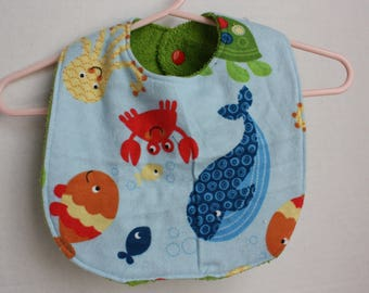 Large, Absorbent Baby Bib - Flannel and Terry Cloth
