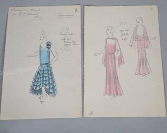vintage dress sketch etsy. Black Bedroom Furniture Sets. Home Design Ideas