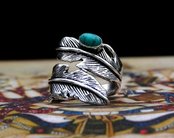 Turquoise Silver Feather Ring Bohemian Gypsy Jewelry
