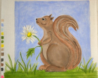 Needlepoint Canvas   Hand Painted Canvas  Squirrel Daisey Needle Point Canvas Pam George Quilts  Fiber Art  Original Design 18 Count Canvas
