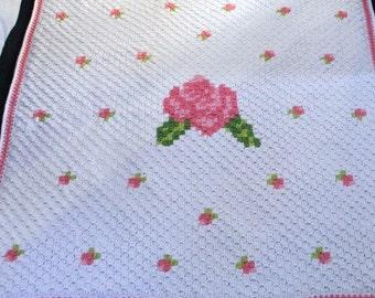 Crochet Afghan with Rose Design~Child Blanket with Rose Design~Baby Blanket with Rose Design~Lapghan with Rose Design~Throw with Rose Design