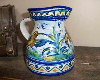 Vintage Spanish or Mexican Pottery Handmade Pitcher Jug Handpainted