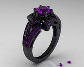 Art Deco 14K Black Gold 1.0 Ct Amethyst Wedding Ring, Engagement Ring R286-14KBGAM