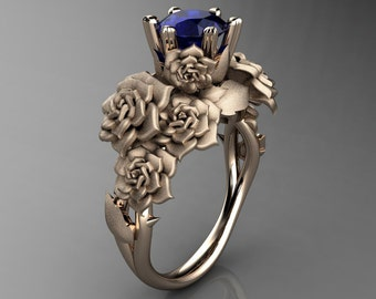 Nature Inspired 14K Rose Gold 1.0 Ct Sri Lanka Blue Sapphire Rose Bouquet Leaf and Vine Engagement Ring R427-14KRGSNBS