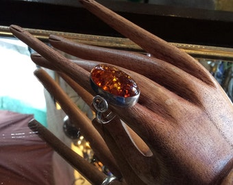 Vintage Retro Sterling Silver and Amber Ring. Size 7
