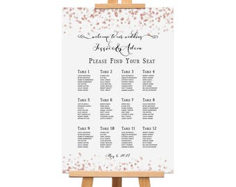 Rose Gold Wedding Seating Chart, Confetti Table Assignment Poster, Glitter Reception Seating Plan Table, Pink Bling Seating Chart