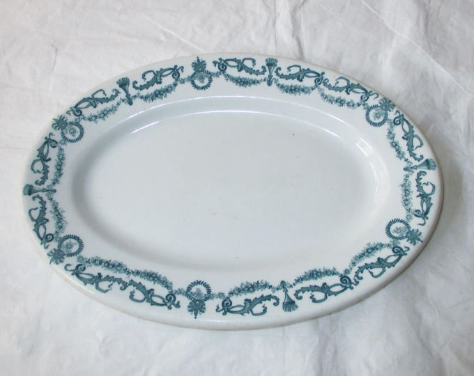 "Shenango Restaurant Ware 11.25"" Oval Platter Green Garlands, Swags, and Wreaths (c. 1950)"