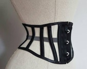 UNDERBUST CORSET WASPIE steelboned corset belt made to order Busk front closing and laced back.