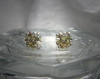 High Quality Light Canary 6.5mm Round Brilliant Cut Cubic Zirconia Sterling Silver Stud Earrings
