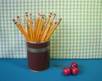 Mid Century Pencil Cup - Pen Holder - Desk Organizer - Faux Leather - Brown Gold -  Metal - Vintage 1960's