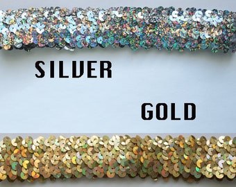 Stretch Sequin Headband available in Silver or Gold