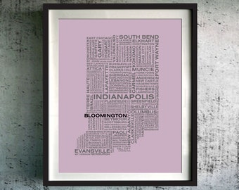 Indiana Original Gift, Indiana Art Print, Indiana Unique Gift, Indiana Typography Map, Custom Indiana Map, Indiana Poster, Indiana Decor